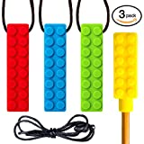 SENSO Sensory Chew Necklace Set - (3 PACK + BONUS PENCIL TOPPER) - Silicone Chew for ADHD, Teething, Autism, Biting, Oral Motor - Self-Soothe Stimming Chew Toy for Kids - MEDIUM FIRMNESS