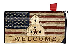 Americana Welcome Primitive Mailbox Cover Patriotic Birdhouse Briarwood Lane
