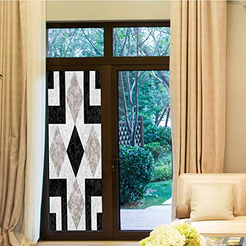 YOLIYANA Privacy Window Film,Apartment Decor,for Home Office School,Nostalgic Marble Stone Mosaic Regular Design with Alluring,24''x70''