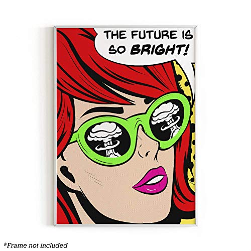 (The Future is Bright Wall Art Print by Urban Willow | Andy Warhol | Pop Art, Retro, Vintage Themed Home, Office, Apartment Decor | Unframed/Frameable Poster Wall Decoration | 12