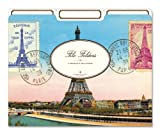Cavallini File Folders Eiffel Tower, 12 Heavyweight File Folders per Set