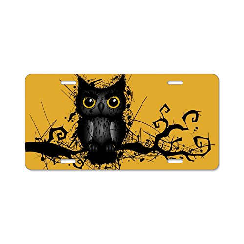 Rough Grungy Owl Car Plate Tag Accessories Metal License Plate Frame (New) 12