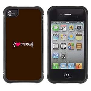 "Pulsar iFace Series Tpu silicona Carcasa Funda Case para Apple iPhone 4 / iPhone 4S , El amor del Corazón mamá Madre Familia Cita"""