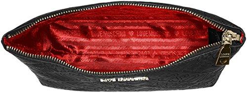 Love Moschino Damen Bustina In Rilievo Pu Nero Frizione, Schwarz (nero), 14x24x7 Cm