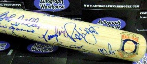 Baseball Hall of Fame autographed Baseball Bat 20 Signatures Cal Ripken, Nolan Ryan, Jim Hunter, Robin Yount, Ozzie Smith, Kiner, ()