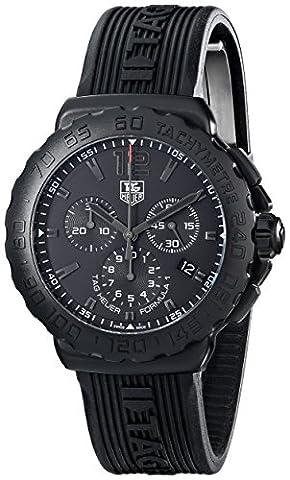 Tag Heuer Men's 'Formula 1' Black Dial Black Rubber Strap Chronograph Watch CAU1114.FT6024 (Tag Heuer Women Black)