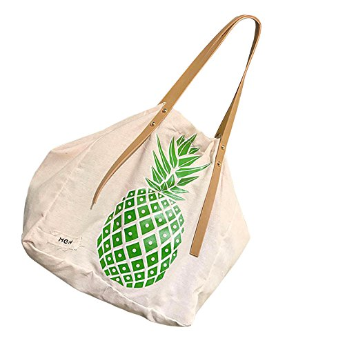 Tefamore Donne Moda Tela Borsa Da Stampa Di Ananas A Tracolla Borse Verde