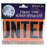 30 ft Orange Haunted Fright Tape Halloween Decoration Haunted (Pack of 2)