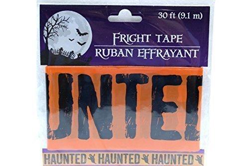 30 ft Orange Haunted Fright Tape Halloween Decoration