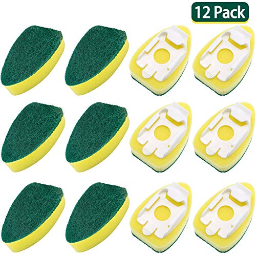 12 Pack Dish Wand Refills Sponge Heads Brush Replacement Sponge Refill Sponge Pads for Kitchen Room Cleaning Supplies
