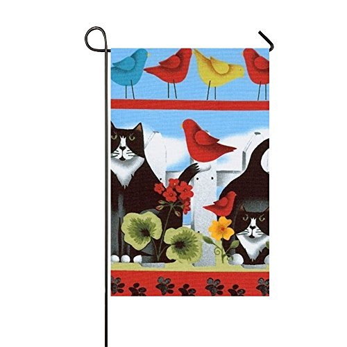 Starfactr Tuxedo Cat Clip Art Welcome Garden Flag Vertical Outdoor & Indoor Decorative Double Sided Flag for Spring Summer Farm House Decoration