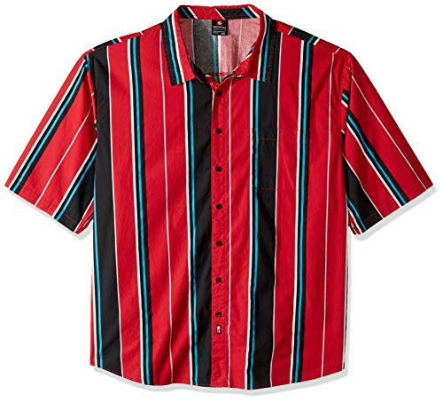 Woven Shirt Vertical Stripe (Southpole Men's All Over Print Woven Shirt, Red Stripe, Large)