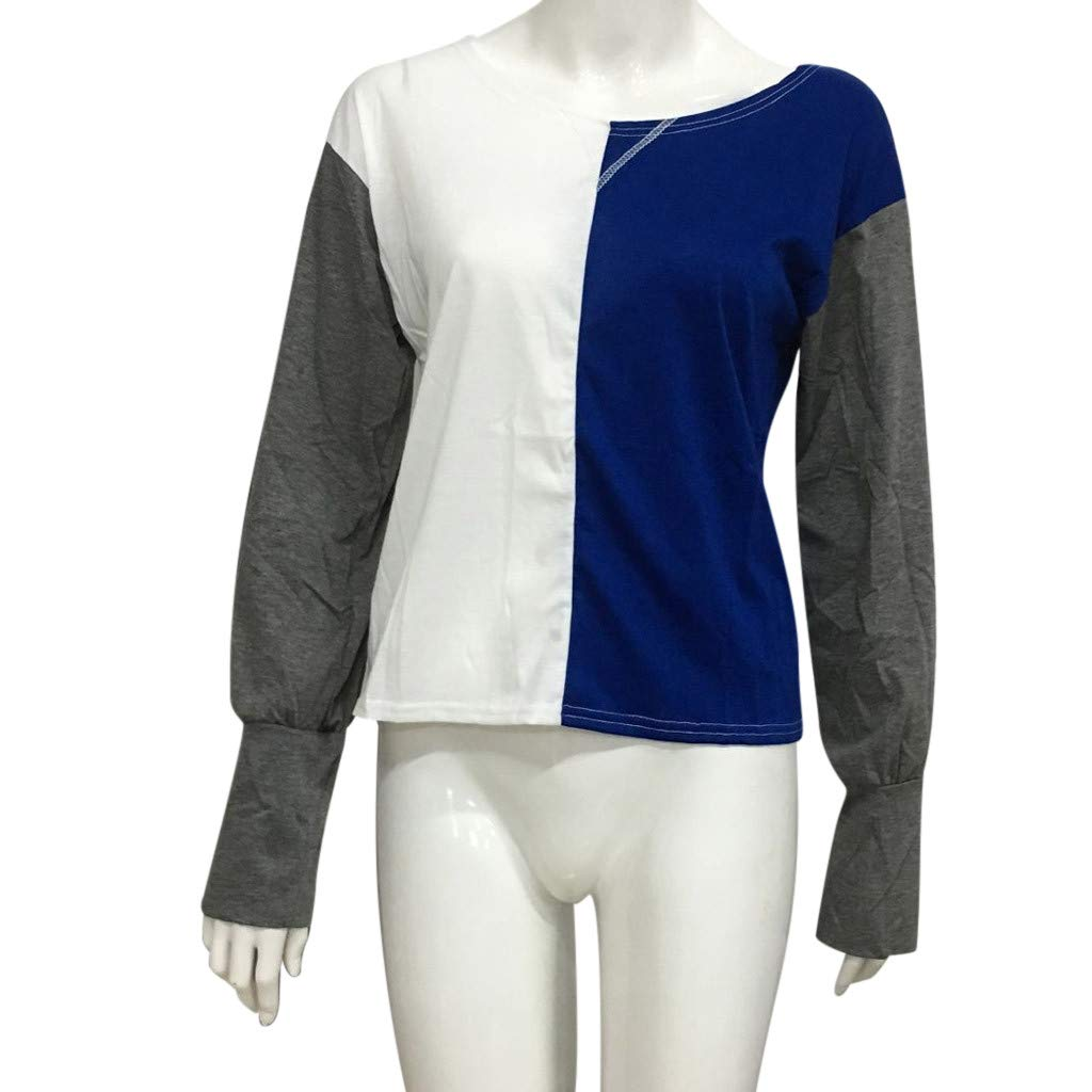 Honestyi Sommer Frauen Lange H/ülsen Farbe die ringsum Ansatz lose beil/äufige T Shirts blockiert Kontrastoberteil mit Langen /Ärmeln