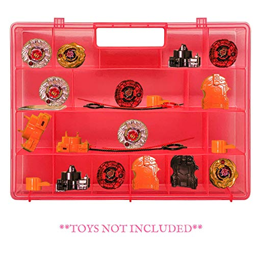 Life Made Better, Pink Toy 2.0 Holder, Strengthened Durability, Storage Carrying Case Compatible with Beyblade, Battle Box for Kids, Save & Sort Compartments Organizer