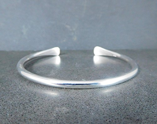 3mm Wide Solid Sterling Silver Cuff Bracelet Smooth or Hammered Open Bangle 925 -