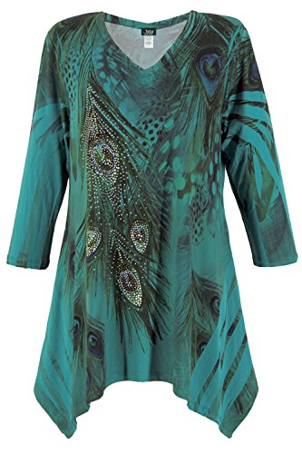 V-neck Top Sublimation - Jostar Women's Hit V-Neck Binding Top 3/4 Sleeve Sublimation Plus 3XL Teal Feather