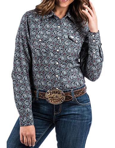 Cinch Apparel Womens WSL Ladies Print L/S Shirt L Navy - Paisley L/s Shirt