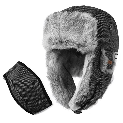 SIGGI Rabbit Fur Trapper Hat Aviator Earflap Hat Wool Winter Hat for Men with Mask Pilot Soviet Russian Ushanka Black L