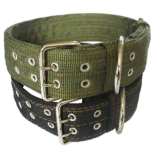 Pesp Army Green Dog Metal Buckle Double 2-rows Belt Strap Adjustable Collar Large L (Green)