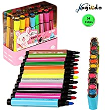 Magicdo® 24Cols Watercolor Pen, Stamp Marker pen, Watercolor Marker pen with Art Seal, Non-Toxic& Washable Markers for Kids and Adults Coloring Book, Doodling, Drawing