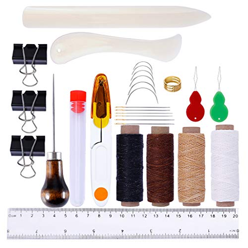 KUKALE Tools Repair Kit 28pcs Leather Craft Hand Stitching Sewing Waxed Thread Awl Thimble Scissors Needles Ruler Set