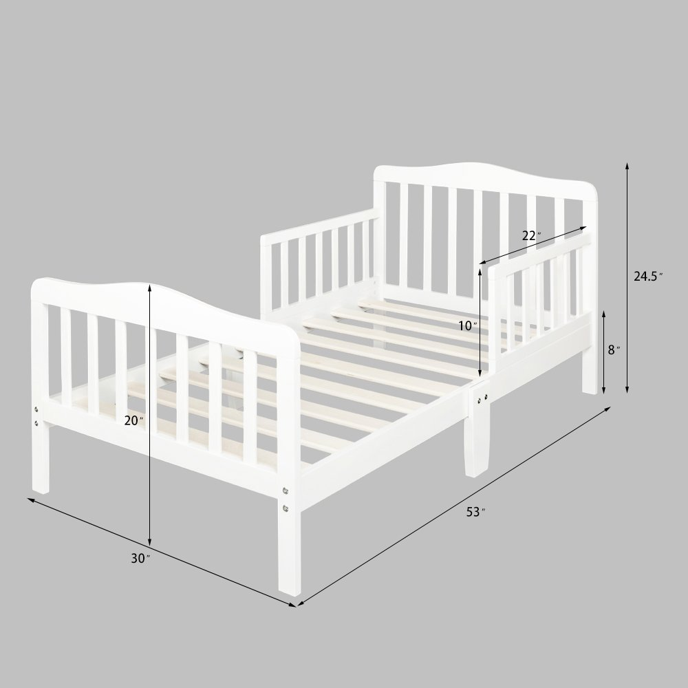 Wooden Baby Toddler Bed Children Bedroom Furniture with Safety Guardrails (White)