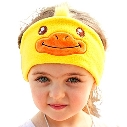 FIRIK Kids Headphones Volume Limited with Easy Adjustable Toddler Costume Silky Headband Headphones for Children, Perfect for Air Travel, Home and Christmas Birthday Gift - Duck