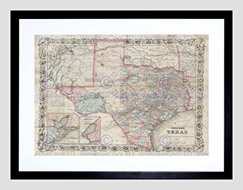 MAP Illustrated Antique Colton Texas Black Framed Art Print B12X4927 ()
