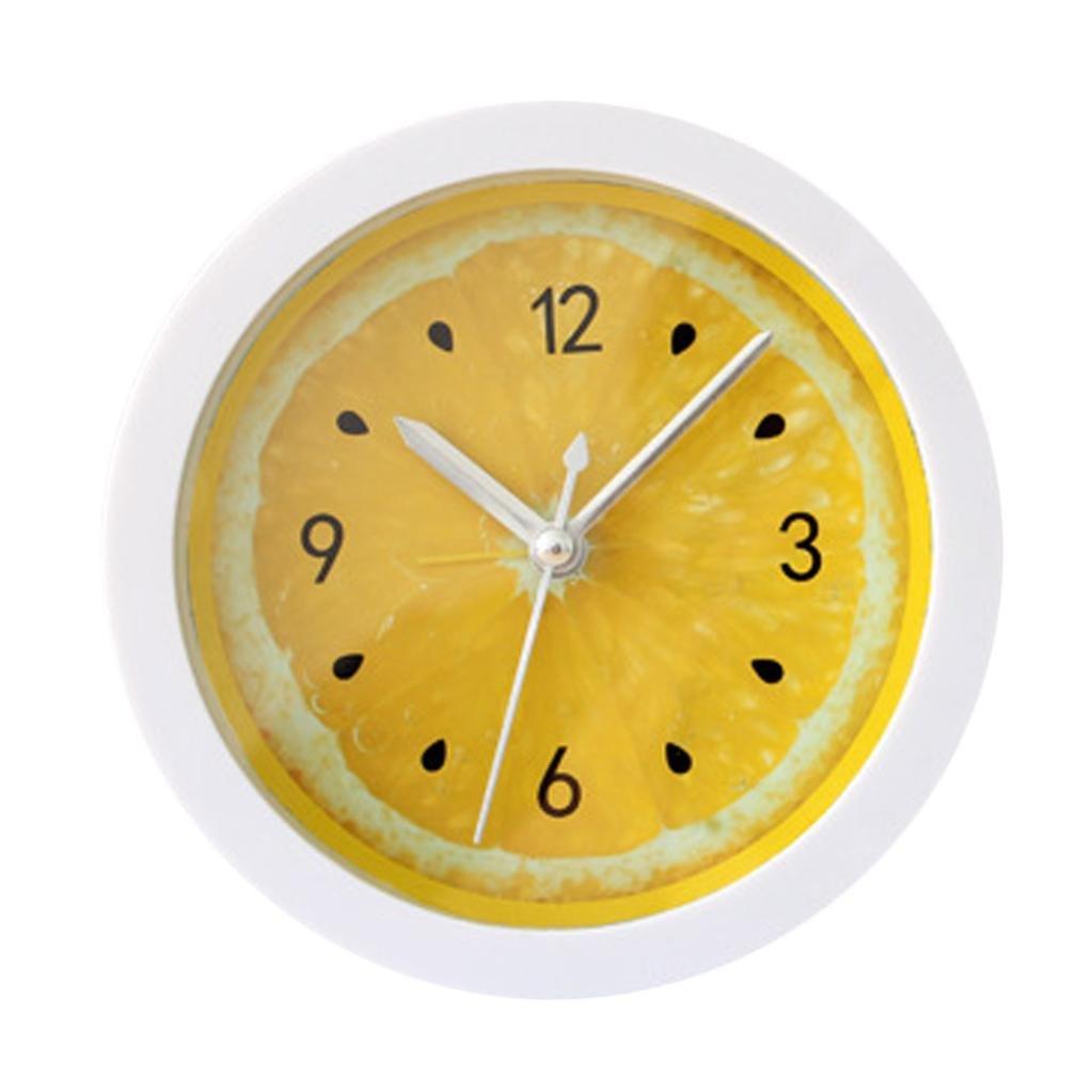 Mini Cartoon Fruit Analog Alarm Clock With light And Snooze Ascending Sound Alarm Simple To Set Clocks Battery Powered (Yellow)