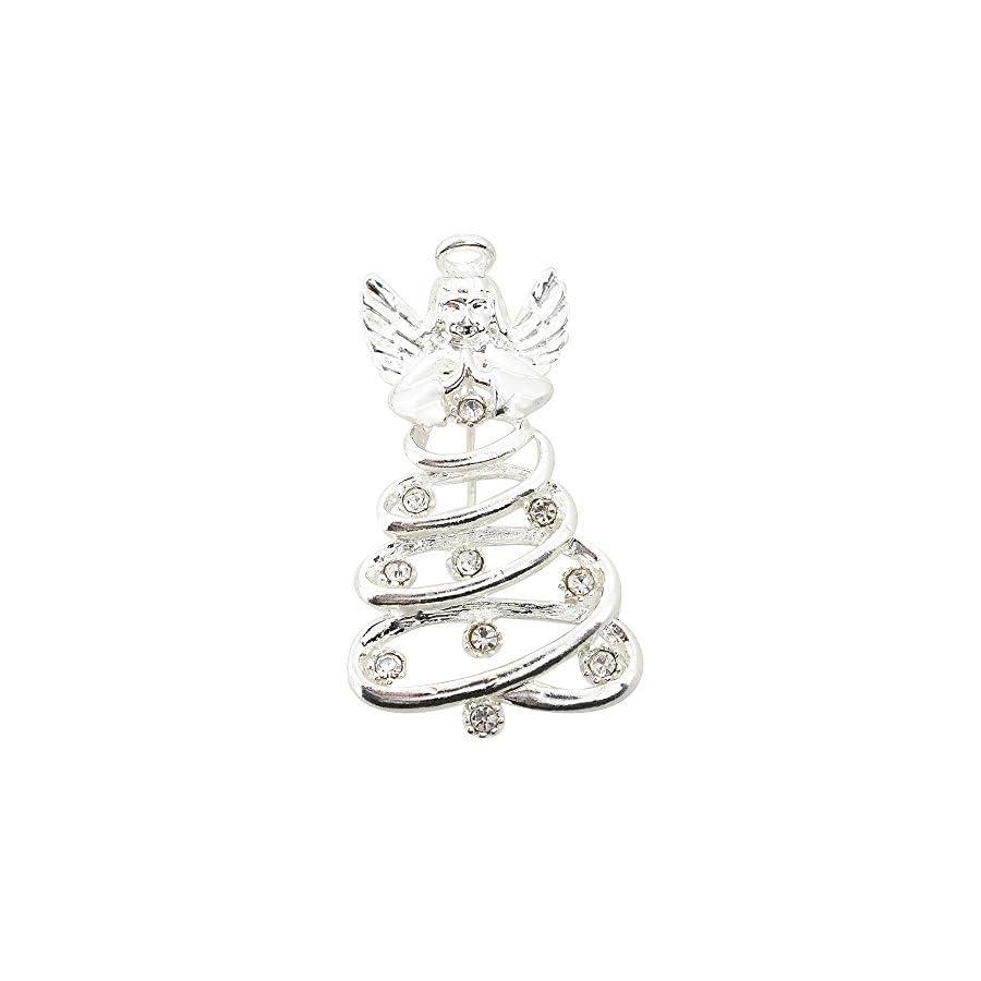 Silver Spiral Angel Prayer Brooch Pin
