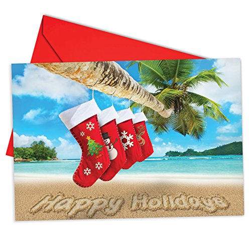 12 'Season's Beachin' Stockings' Boxed Christmas Cards with Envelopes 4.63 x 6.75 inch, Beachy Holidays Greeting Cards, Tropical Christmas Cards, Island Xmas Notes B6651JXSG - Christmas Greetings Seasons Stockings
