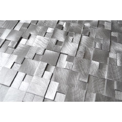 3D Raised Cobblestone Pattern Aluminum Mosaic Tile - Kitchen Backsplash / Bath Backsplash / Wall Decor / Fireplace Surround