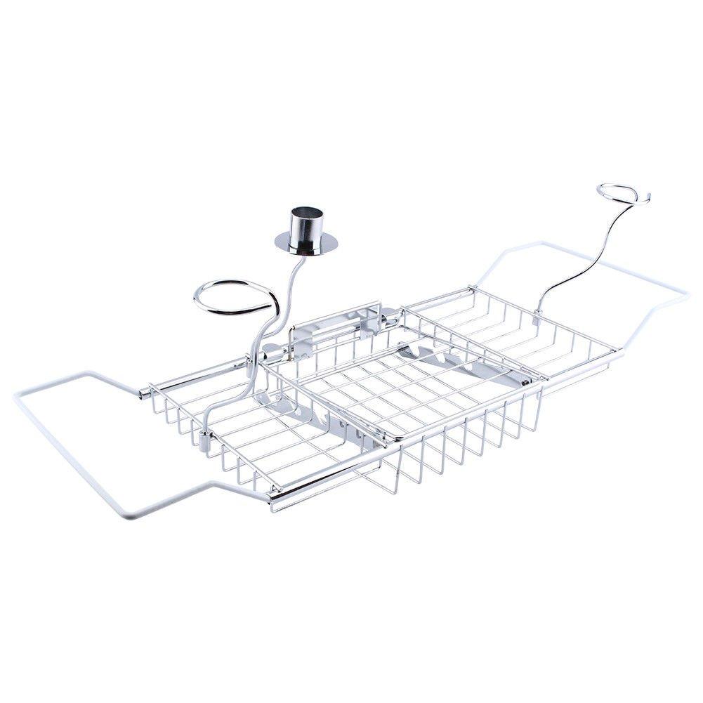 Neru Shop Expandable Bathtub Shelf Holder Bathroom Storage Organizer Tub Rack Tray