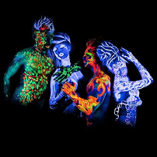 neon nights 8 x uv body paint black light make up bodypainting neon blacklight bodypaint face. Black Bedroom Furniture Sets. Home Design Ideas
