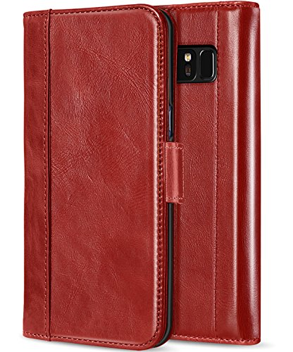 ProCase Galaxy Note 8 Genuine Leather Case, Vintage Wallet Folding Flip Case with Kickstand Card Slots Magnetic Closure Protective Cover for Samsung Galaxy Note8 -Red