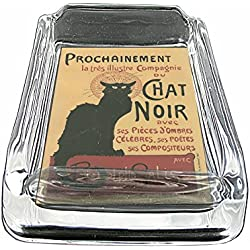 Glass Square Ashtray Vintage Poster D-051 Cat Chat Noir