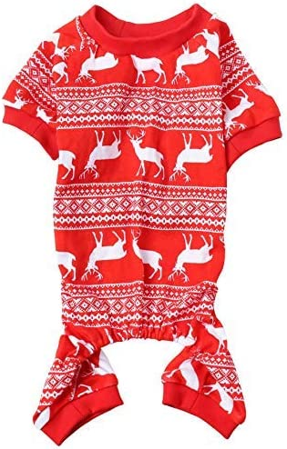 Lanyar Christmas Holiday Pet Dogs Pajamas Clothes 100/% Cotton Santa Claus Rudolph Reindeer