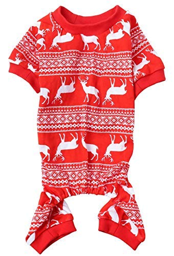 Christmas Reindeer Costume Xmas Pet Clothes for Dog Pajamas Soft Christmas PJS, Back Length 16