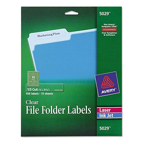 Hot Avery Clear File Folder Labels, 1/3 Cut, 2/3 x 3 7/16, 450/Pack
