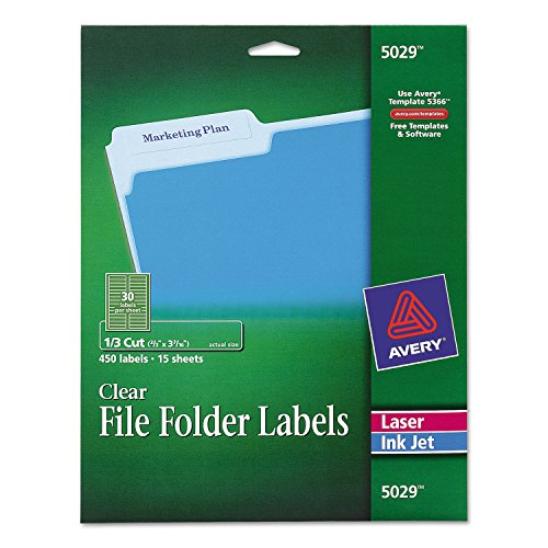 Avery 5029 Clear File Folder Labels, 1/3 Cut, 2/3 x 3-7/16, 450/Pack ()