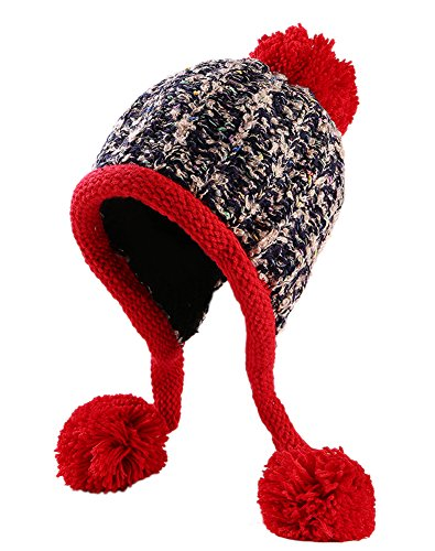 a40b6ef5815 Urban CoCo Women s Winter Cable Knitted Pom Pom Beanie Hat Earflap Caps