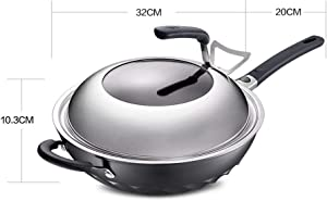 Guo shop Solid Color Aluminum Alloy Wok with Wooden Shovels, Special Non-Stick pan Less Smoked Wok, Intelligent Oil Temperature Control Wok Pan with Hangable Handle (Color : B)
