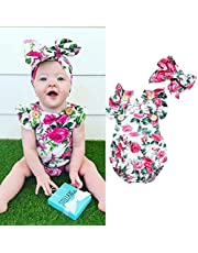 Toddler Baby Girl Floral Romper 2 Piece Sleeveless Play Suit with Matching Headband