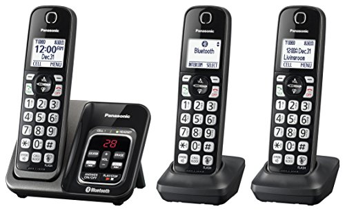 PANASONIC Expandable Cordless Phone System with Link2Cell Bluetooth, Voice Assistant, Answering Machine and Call Blocking - 3 Cordless Handsets - KX-TGD563M (Metallic Black) (Bluetooth Phone Panasonic System)