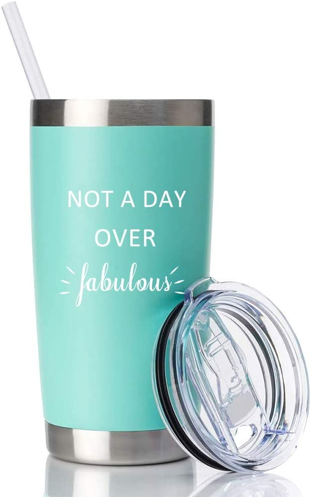 Green Insulated Stainless Steel Tumbler, Not A Day Over Fabulous,16 OZ Ice Hot Coffee Cup