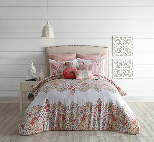 Price comparison product image Jessica Simpson A026715MUEES 3Piece Sabine Comforter Set, Queen, Pink 3Piece Sabine Comforter Set,,Queen