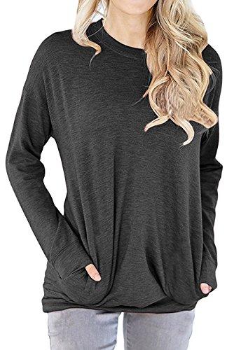GSVIBK Women Casual Round Neck Sweatshirts Long Sleeve Pullover Shirts Tops Soft Sweatshirts Blouse Pocket Dark Gray L