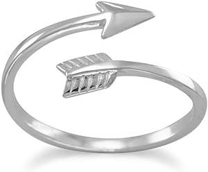 Rhodium Plated Sterling Silver Wrap Ring, Sizes 4-11, Sideways Arrow, 1/2 inch wide