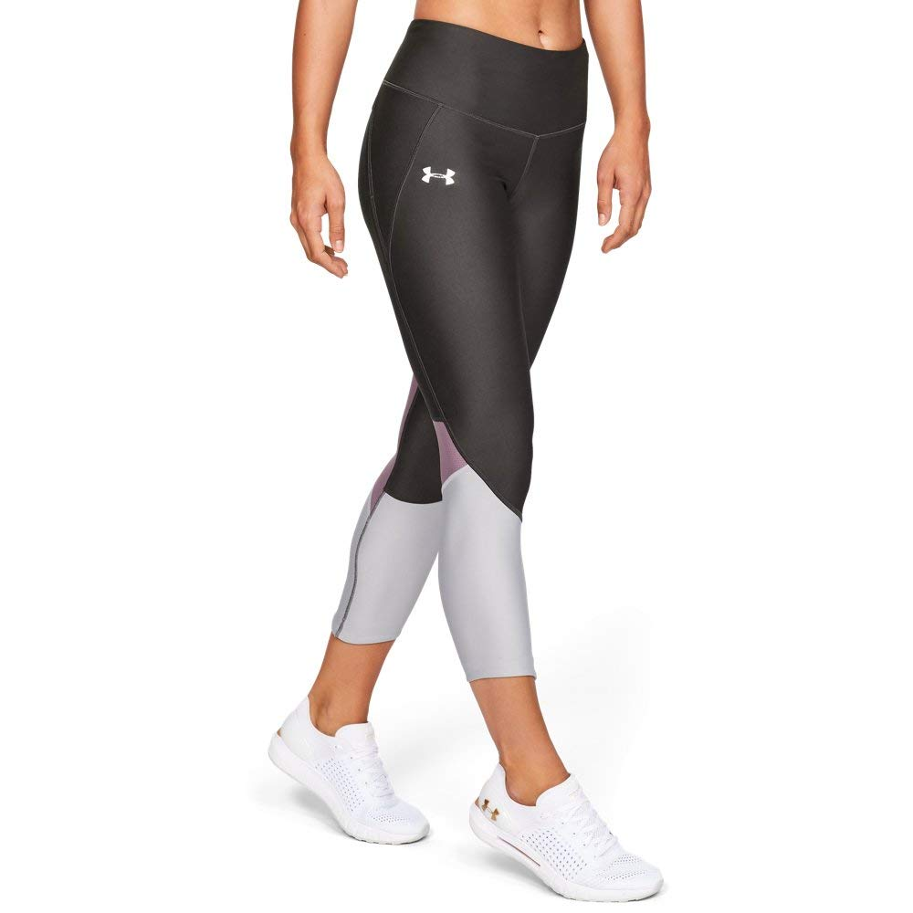 Under Armour Women's Armour Fly Fast Crop, Jet Gray//Reflective, X-Small