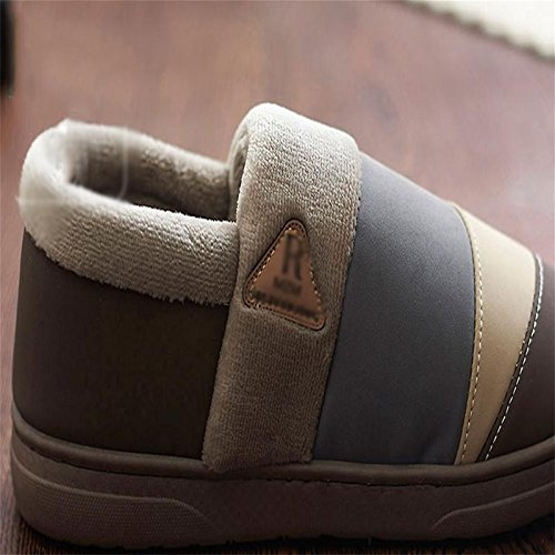 W&XY Winter Men Slippers Nubuck leather Fluff Lined House Cotton Shoes , 41